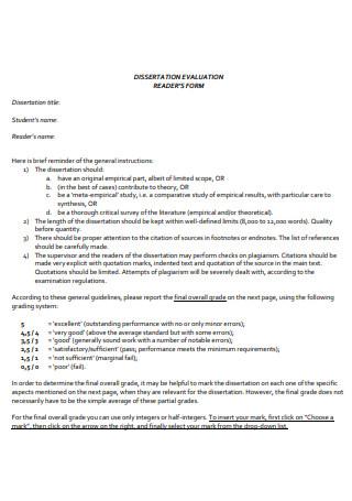 Dissertation Evaluation Reader Form