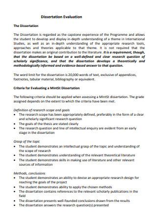 Dissertation Evaluation Template