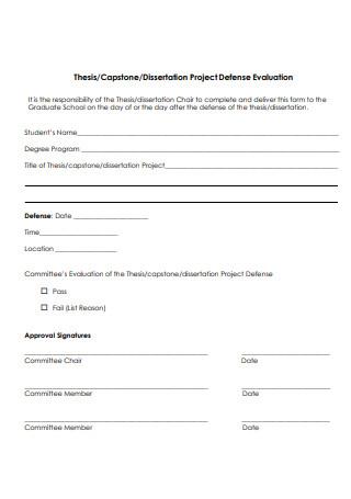 Dissertation Project Defense Evaluation