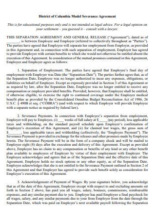 District Model Severance Agreement