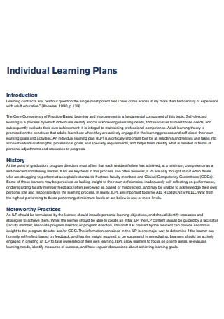Draft Individual Learning Plan