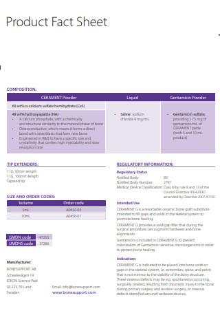 Draft Product Fact Sheet
