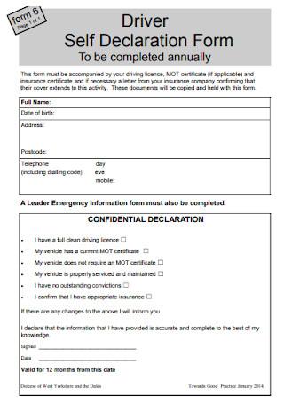 Driver Self Declaration Form