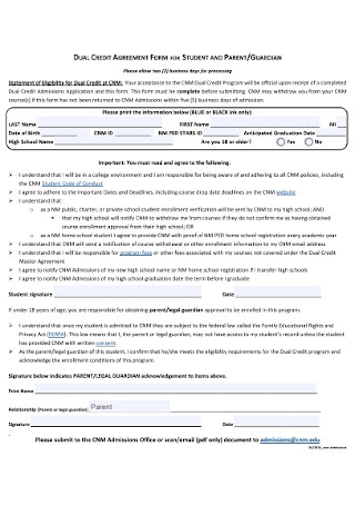 Dual Credit Agreement Form