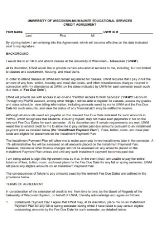 Educational Service Credit Agreement