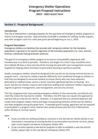 Emergency Homeless Shelter Proposal