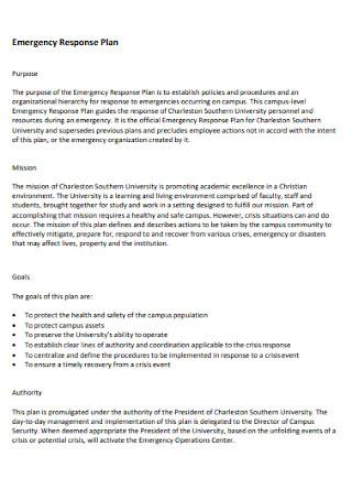 Emergency Response Plan Format