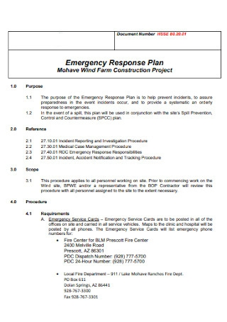 Emergency Response Plan for Construction Project
