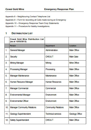 Emergency Response Plan for Gold Mine