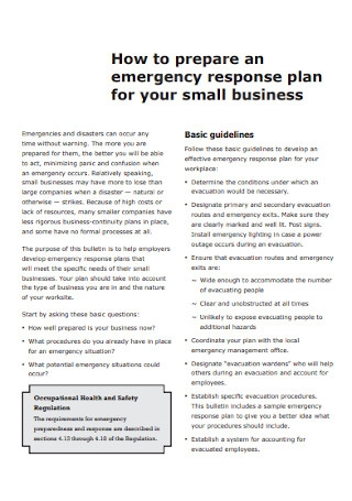 Emergency Response Plan for Small Business