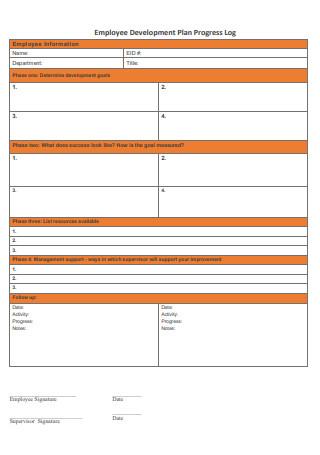 Employee Development Plan Progress Log