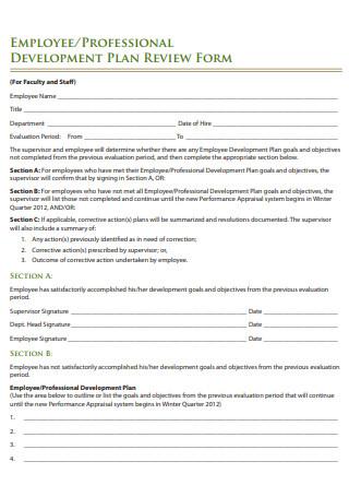 Employee Development Plan Review Form