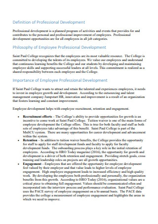 Employee Professional Development Plan