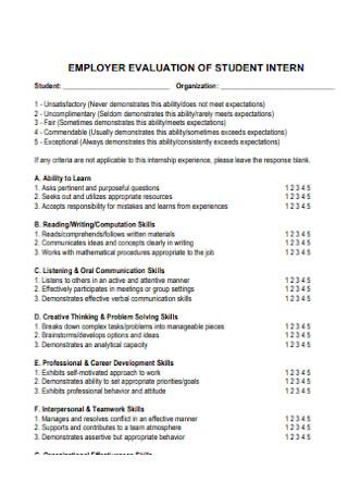 Empployer Evaluation of Student Internship