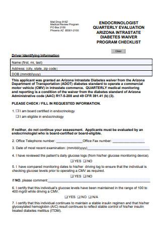 Endocrinologist Quarterly Evaluation