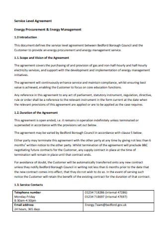 Energy Management Service Level Agreement