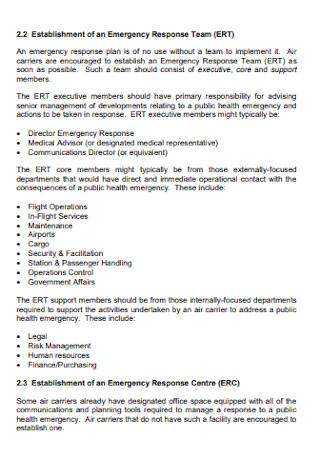 Establishment of an Emergency Response Plan