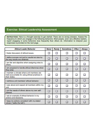Ethical Leadership Assessment