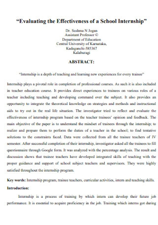 Evaluating the Effectiveness of a School Internship