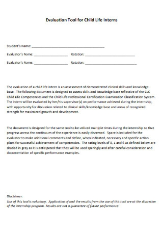 Evaluation Tool for Child Life Interns