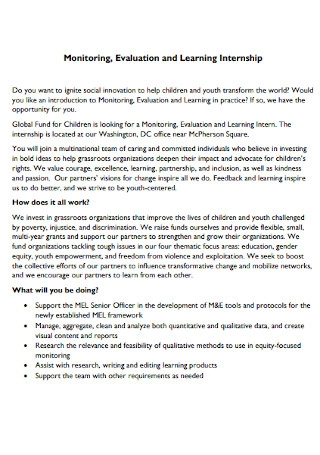 Evaluation and Learning Internship