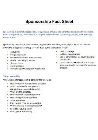 Event Sponsorship Fact Sheet