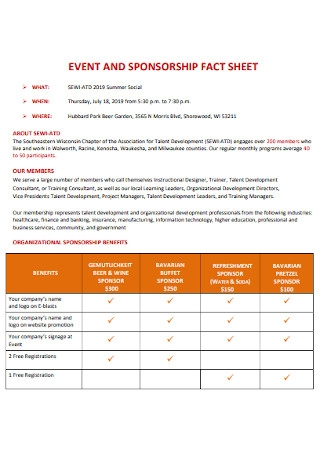 Event and Sponsorship Fact Sheet