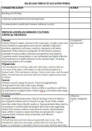 Exams Thesis Evaluation Form