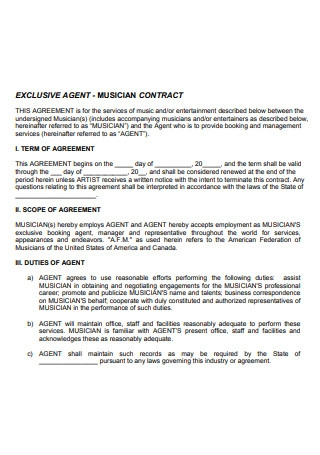 Exclusive Agent Musician Contract