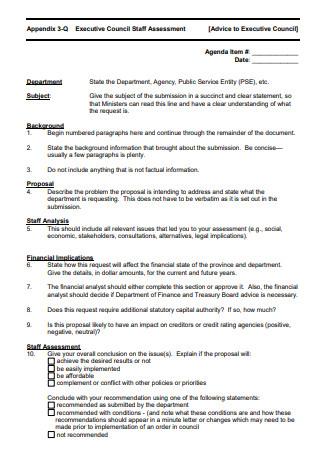 Executive Council Staff Assessment