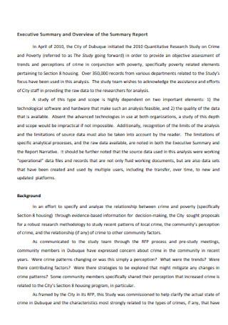 Executive Summary Report Format