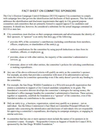 Fact Sheet on Committee Sponsor
