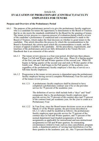 Faculty Employees Probationary Evaluation