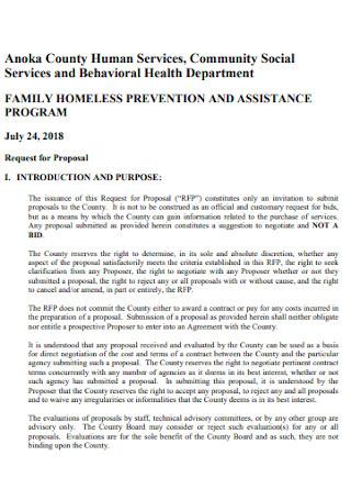 Family Homeless Shelter Proposal