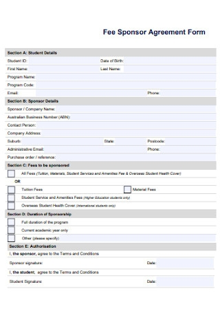 Fee Sponsor Agreement Form