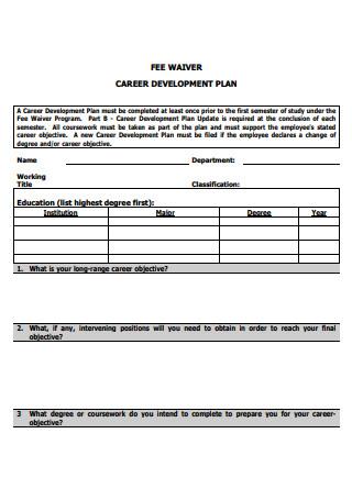 Fee Waiver Career Development Plan