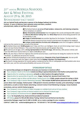 Festival Sponsorship Fact Sheet