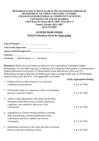 Field Evaluation Form for Internship
