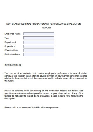Final Probationary Performance Evaluation Report