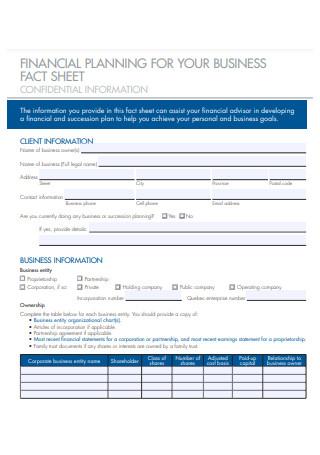 Financial Planning Business Fact Sheet
