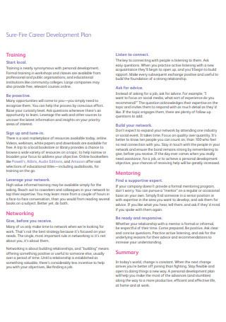 Fire Career Development Plan