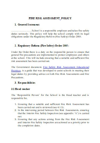 Fire Risk Assessment Policy