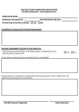 Fire Risk Assessment Post Treatment Form