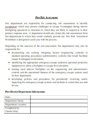 Fire Risk Assessment in DOC