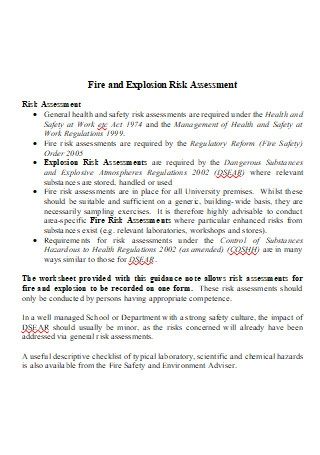 Fire and Explosion Risk Assessment