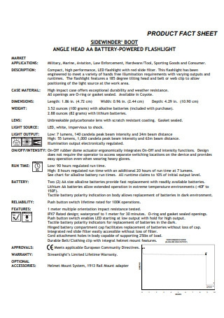 Flashlight Product Fact Sheet