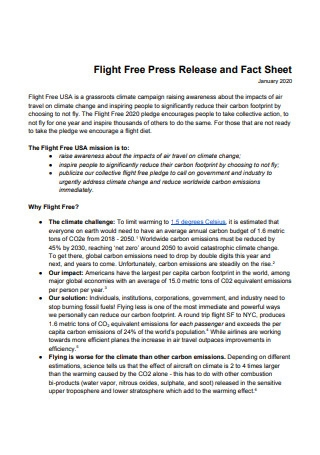 Flight Free Press Release and Fact Sheet