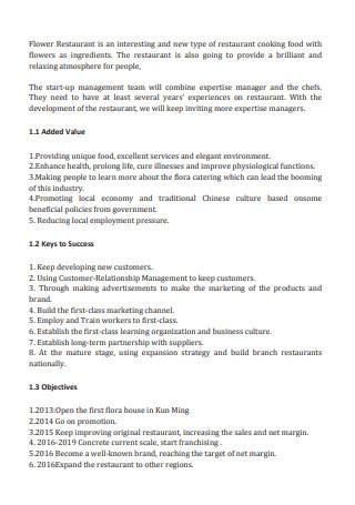 Flower Restaurant Business Plan