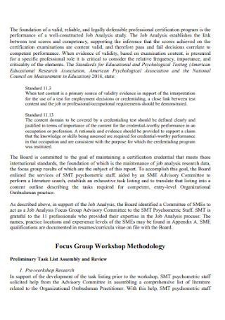 Focus Group Job Analysis Report