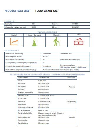 Food Grade Product Fact Sheet